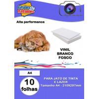 Vinil Branco Fosco Resistente a Agua A4 C/10 (laser e jato de tinta)