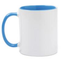 Caneca Ceramica 325ml  Branca -  Interna e Alça Azul Claro