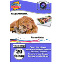 Papel Glossy 260g 10x15 Com 20 Folhas