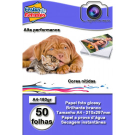 Papel Glossy 180g A4 c/50 Folhas