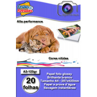 Papel Glossy Dupla Face A3 120g C/20Fl