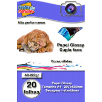 Papel Glossy Dupla Face A3 220g C/20Fl