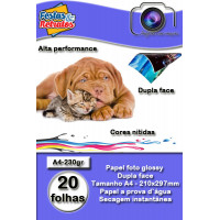 Papel Glossy Dupla Face 230g A4 c/ 20 folhas