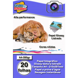 Pape Glossy Profissional Listra A4 260g C/ 50Fl