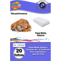 Papel Foto Adesivo Matte 110G  A4 C/20