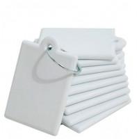 Chaveiro de Polimero Quadrado - Branco C/ 10 Un