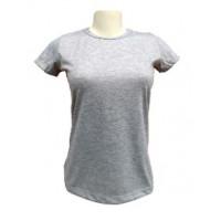 Camiseta Baby Look Cinza Mescla GG 100% Poliester P/ Sublimaçao