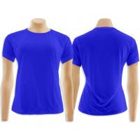 Camiseta Baby Look Azul 100% Algodao- M