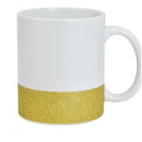 Caneca Ceramica 325ml  Branca - Gliter Na Base Dourado