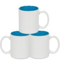 Caneca Ceramica 325ml  Branca -Interna Azul Claro