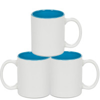 Caneca Ceramica 325ml  Branca - interior Azul Claro