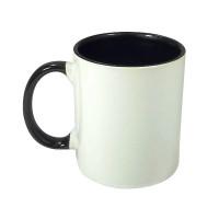 Caneca Ceramica 325ml Branca - Interna E Alça Preta